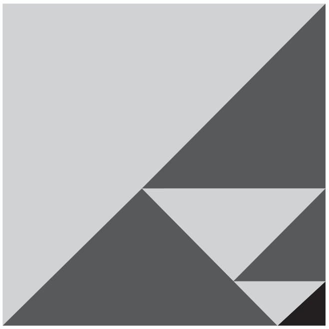 (ENEM 2018) Um quebra-cabeça consiste em recobrir um quadrado com triângulos retângulos isósceles